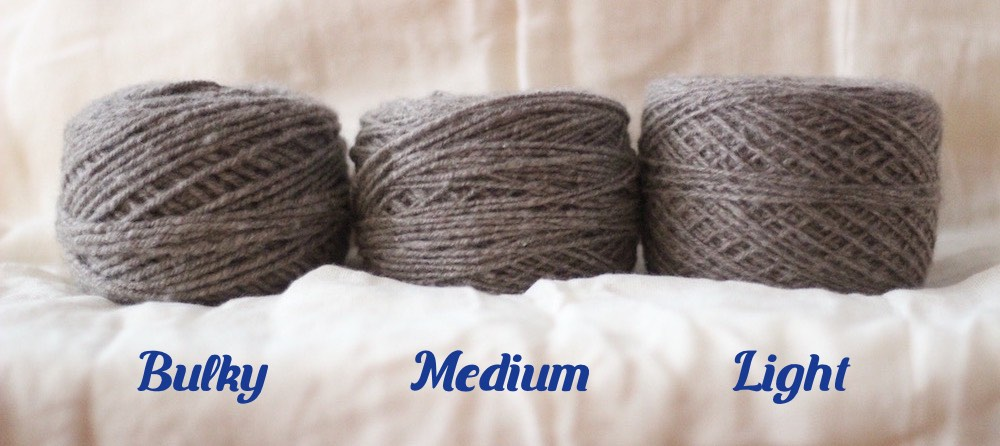 samples of bulky, medium, and light yarn